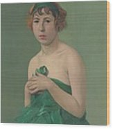 The Green Ribbon Wood Print