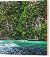 The Green Sea Wood Print by Vijinder Singh