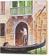 The Green Shutters - Venice Wood Print