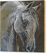 The Grey Arabian Horse Oil Painting Wood Print