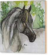 The Grey Horse Drawing Wood Print