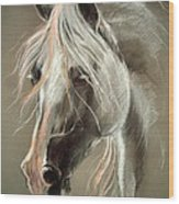 The Grey Horse Soft Pastel Wood Print