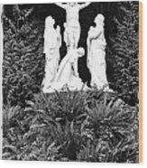 The Grotto - Calvary Scene With Border Wood Print