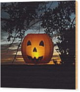 The Hanging Pumpkin Wood Print by Rebecca Cearley