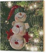 The Happy Snowman Wood Print
