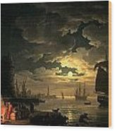 The Harbor Of Palermo Wood Print by Claude Joseph Vernet