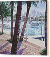 The Harbor Palms Wood Print