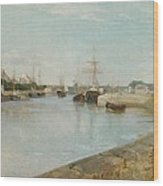 The Harbour At Lorient Wood Print