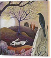 The Hare And Crow Wood Print by Amanda Clark