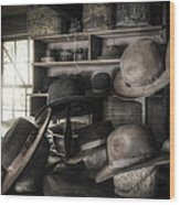 The Hatters Shop - 19th Century Hatter Wood Print
