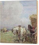 The Hay Wagon Wood Print