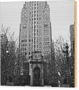 The Herald Square Building In The Rain Herald Square Broadway And 6th Avenue New York City Nyc Wood Print by Joe Fox