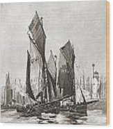 The Herring Fleet, Scarborough Wood Print