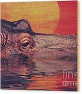 The Hippo Wood Print