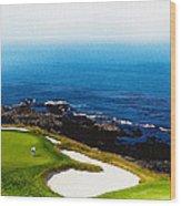 The Hole 7 At Pebble Beach Golf Links Wood Print