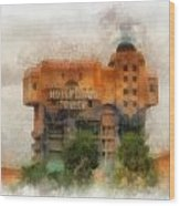 The Hollywood Tower Hotel Disneyland Photo Art 01 Wood Print