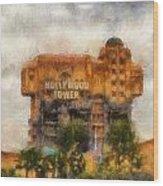 The Hollywood Tower Hotel Disneyland Photo Art 02 Wood Print