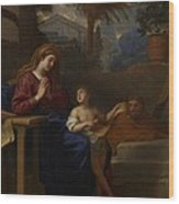 The Holy Family In Egypt Wood Print by Charles Le Brun