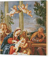 The Holy Family With St. Elizabeth And St. John The Baptist, C.1645-50 Oil On Copper Wood Print
