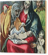The Holy Family With St Elizabeth Wood Print