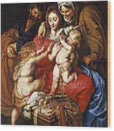The Holy Family With St Elizabeth St John And A Dove Wood Print