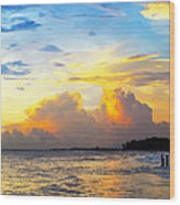 The Honeymoon - Sunset Art By Sharon Cummings Wood Print by Sharon Cummings