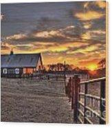 The Horse Barn Sunset Wood Print