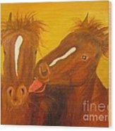 The Horse Kiss - Original Oil Painting Wood Print