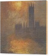 The Houses Of Parliament Sunset Wood Print by Claude Monet
