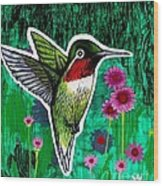 The Hummingbird Wood Print by Genevieve Esson