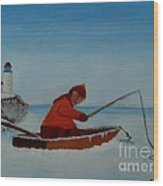The Ice Fisherman Wood Print