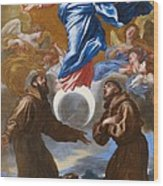 The Immaculate Conception With Saints Francis Of Assisi And Anthony Of Padua Wood Print