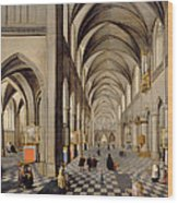 The Interior Of A Gothic Church Wood Print by Hendrik the Younger Steenwyck