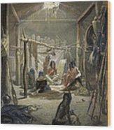 The Interior Of A Hut Of A Mandan Chief Wood Print by Karl Bodmer