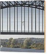 The Iron Railway Bridge Over The Rhine At Arnhem Netherlands Wood Print