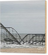 The Jetstar Rollercoaster In Seaside Heights Nj Wood Print by Living Color Photography Lorraine Lynch