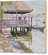 The Jetty Cochin Wood Print by Lucy Willis