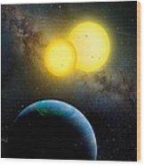 The Kepler 35 System Wood Print