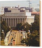 The Key Bridge And Lincoln Memorial Wood Print