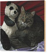 The King Kitty And Panda 01 Wood Print