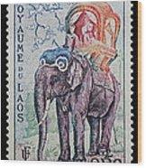 The King's Elephant Vintage Postage Stamp Print Wood Print