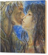 The Kiss In Landscape Wood Print