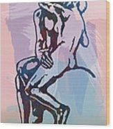 The Kissing - Rodin Stylized Pop Art Poster Wood Print