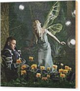 The Knight And The Faerie Wood Print