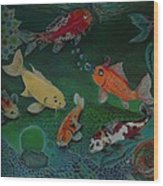 The Koi Life Wood Print by Denisse Del Mar Guevara