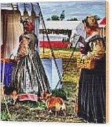 The Ladies And The Corgies Wood Print