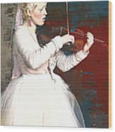 The Lady With The Violin Wood Print