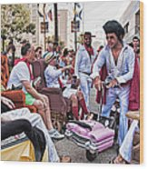 The Laissez Boys At Running Of The Bulls In New Orleans Wood Print