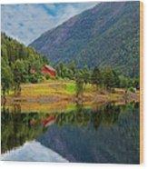 The Lake House Norway Wood Print