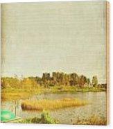 The Lake In Autumn Wood Print